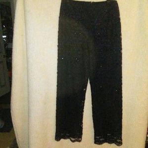 Kenar beaded and lace dress pants
